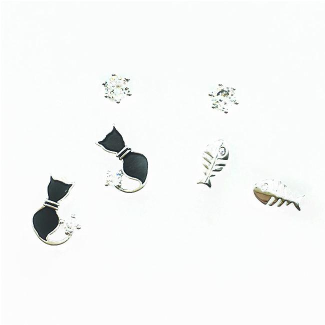 韓國 925純銀 魚 水鑽 黑貓 多入組 耳針式耳環