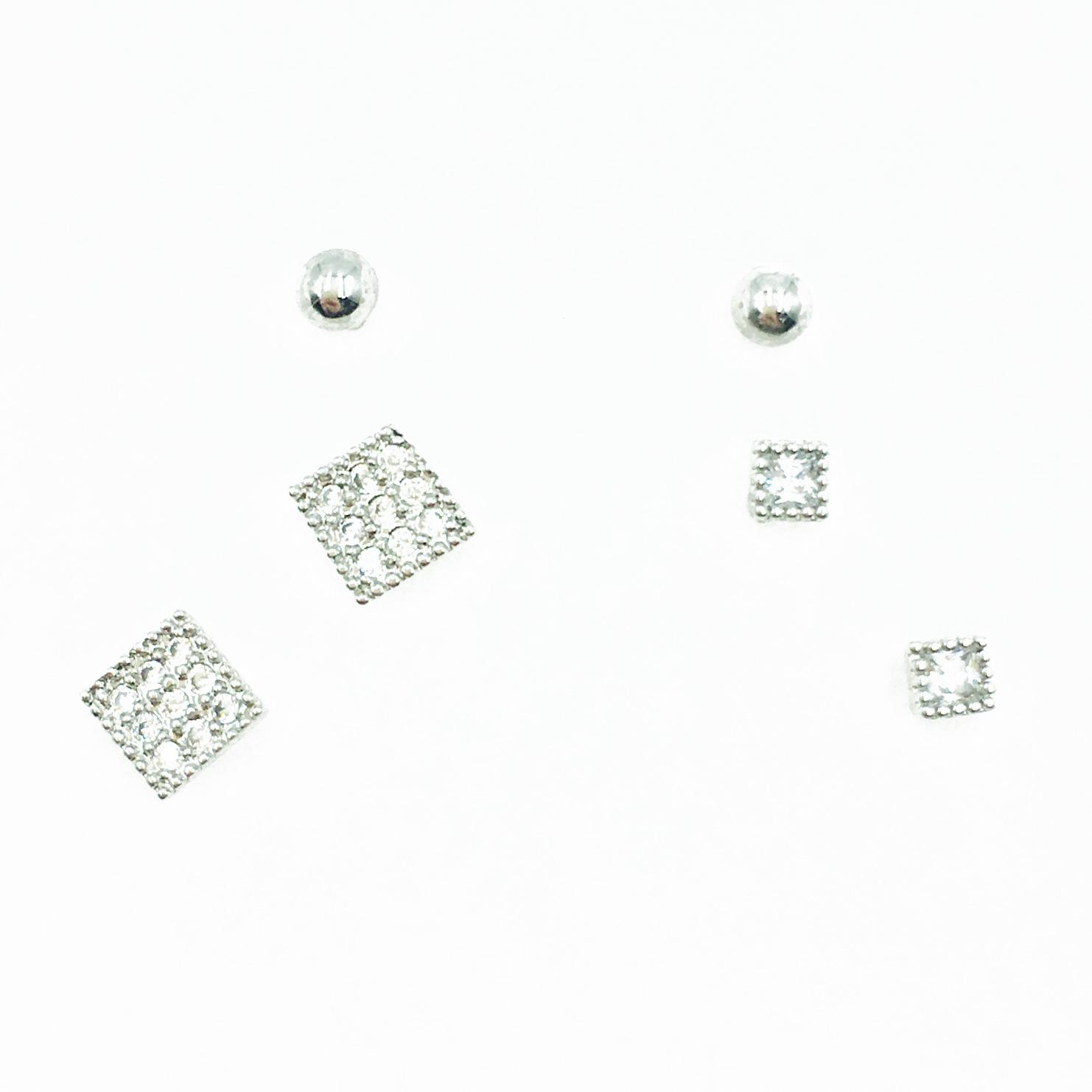 韓國 925純銀 滿版水鑽 方形 簡約 多入組 耳針式耳環