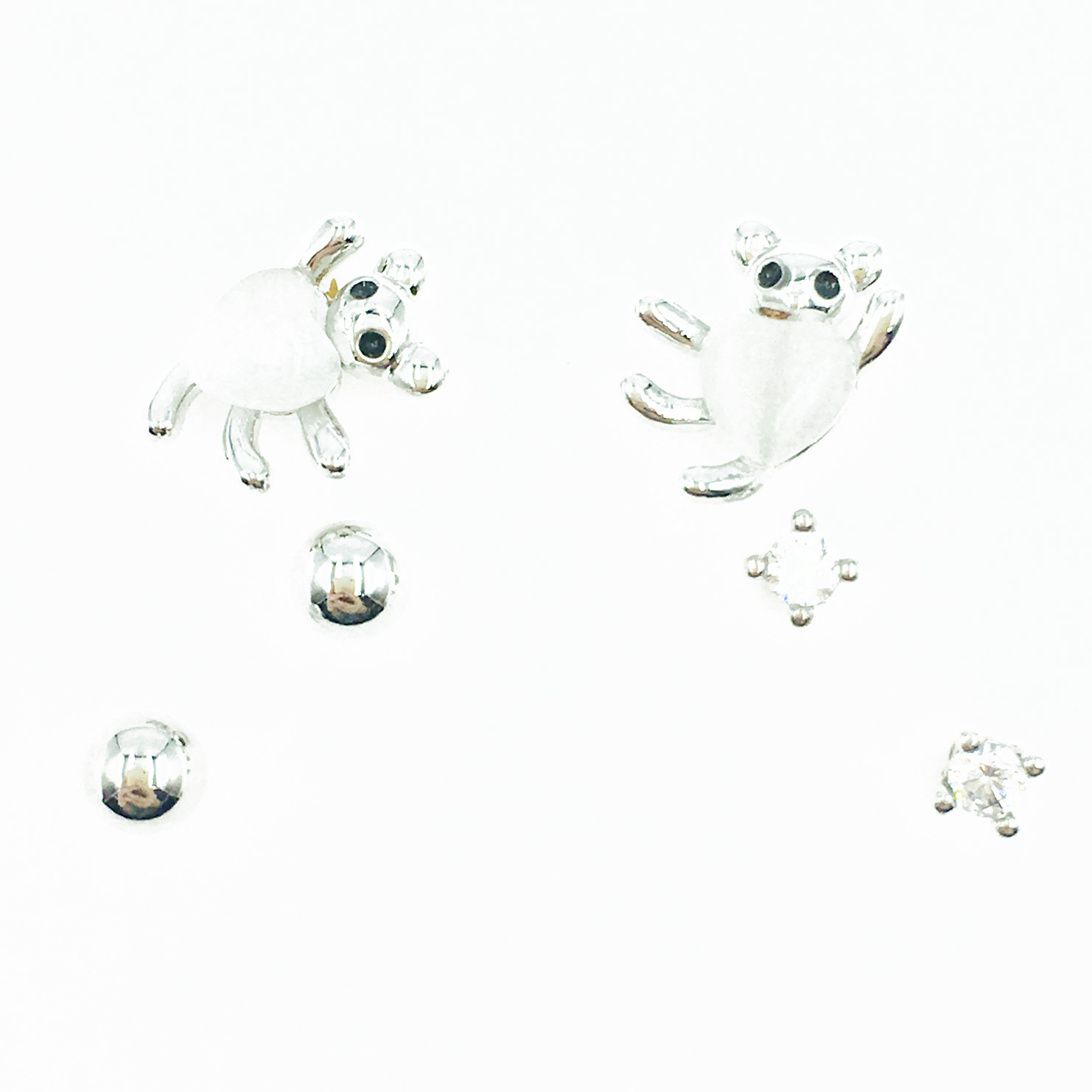 韓國 925純銀 單鑽 金屬小銀珠 多入組 耳針式耳環