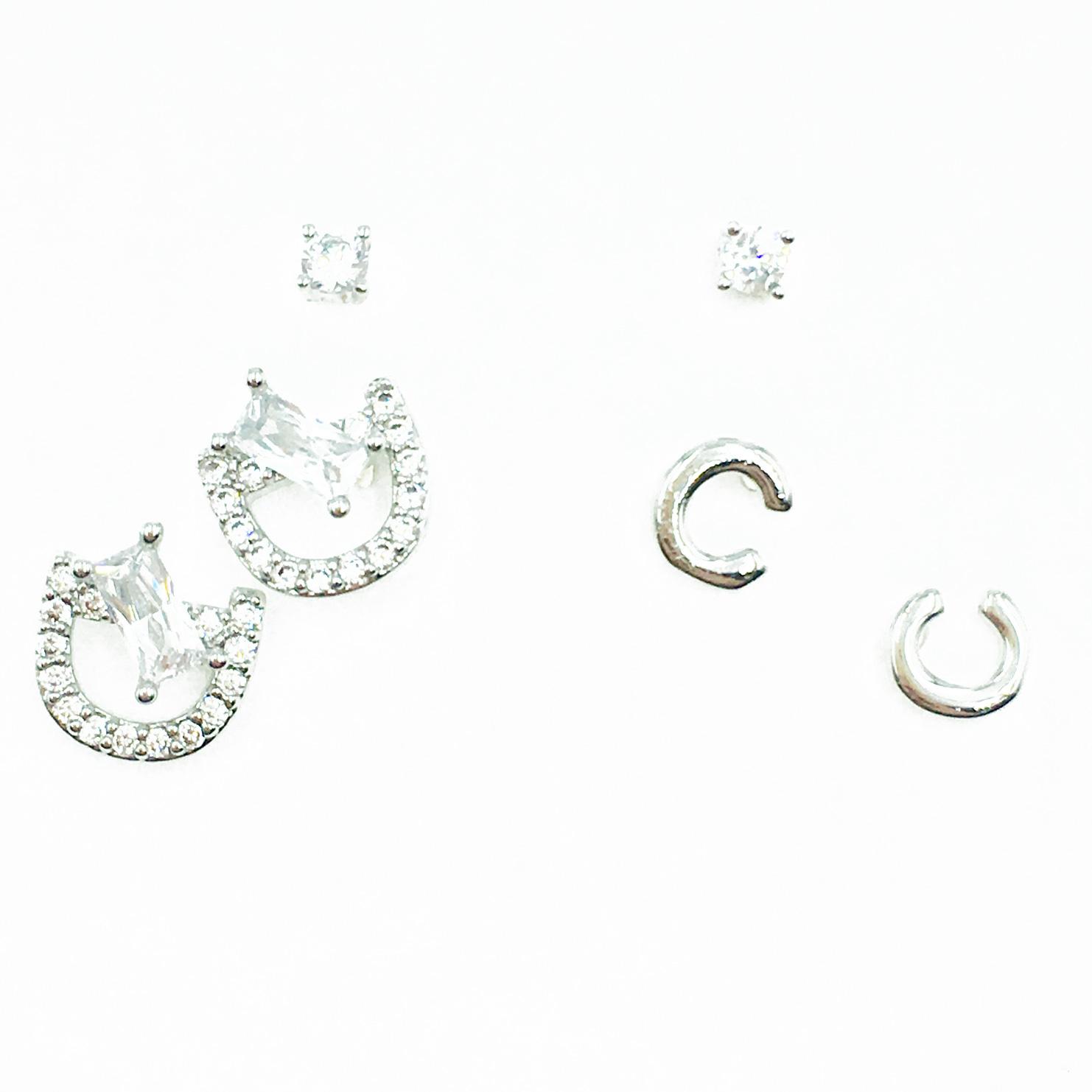 韓國 925純銀 單鑽 水鑽 多入組 耳針式耳環