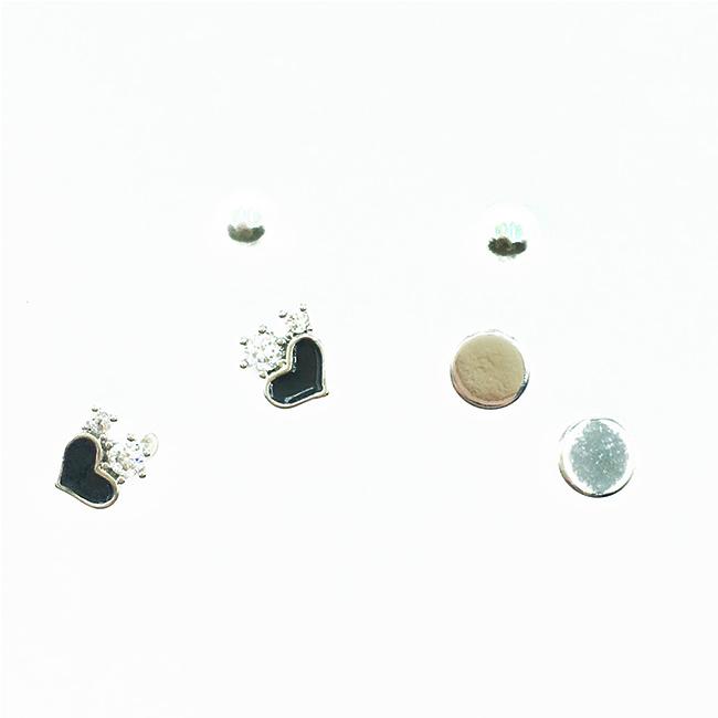 韓國 925純銀 水鑽黑愛心 珍珠 多入組 耳針式耳環