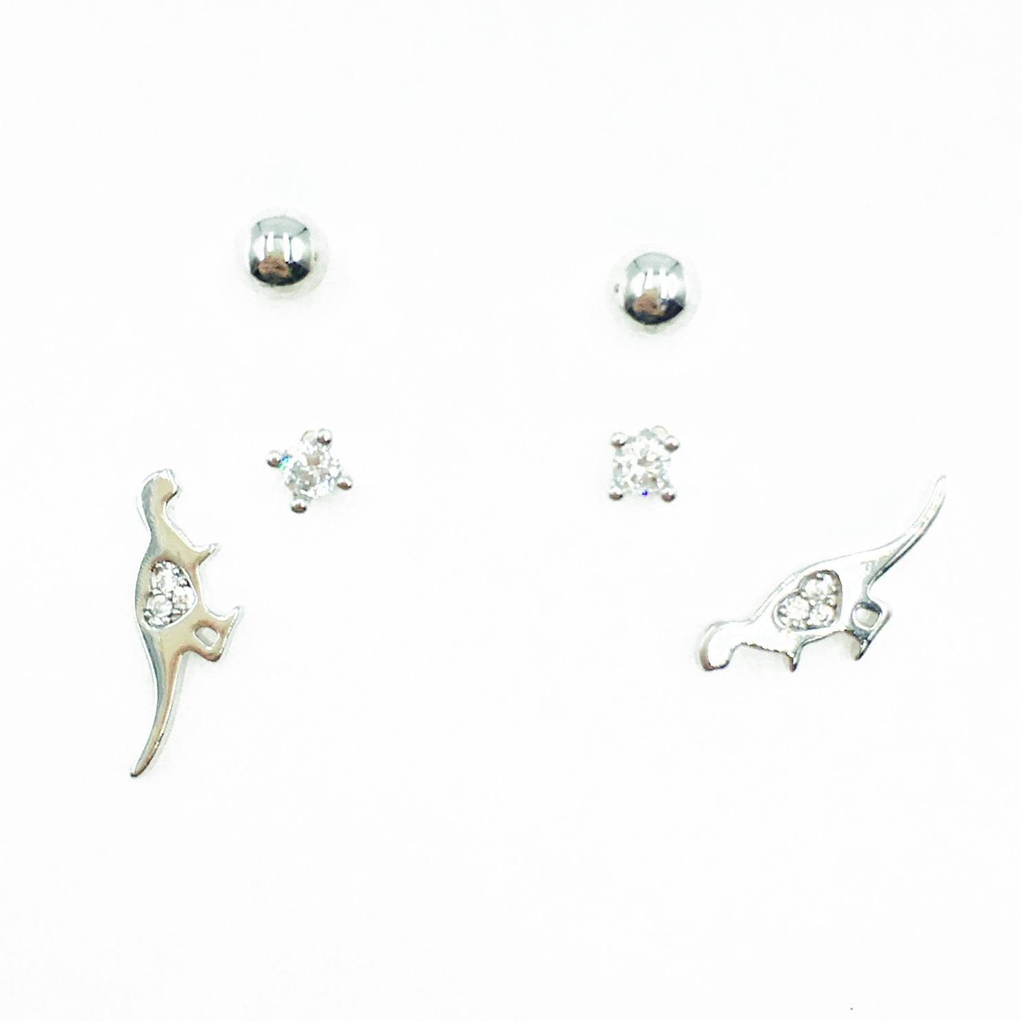 韓國 925純銀 恐龍 單鑽 金屬珠 多入組 耳針式耳環