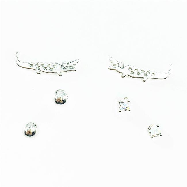 韓國 925純銀 鱷魚 金屬小銀珠 單鑽 多入組 耳針式耳環