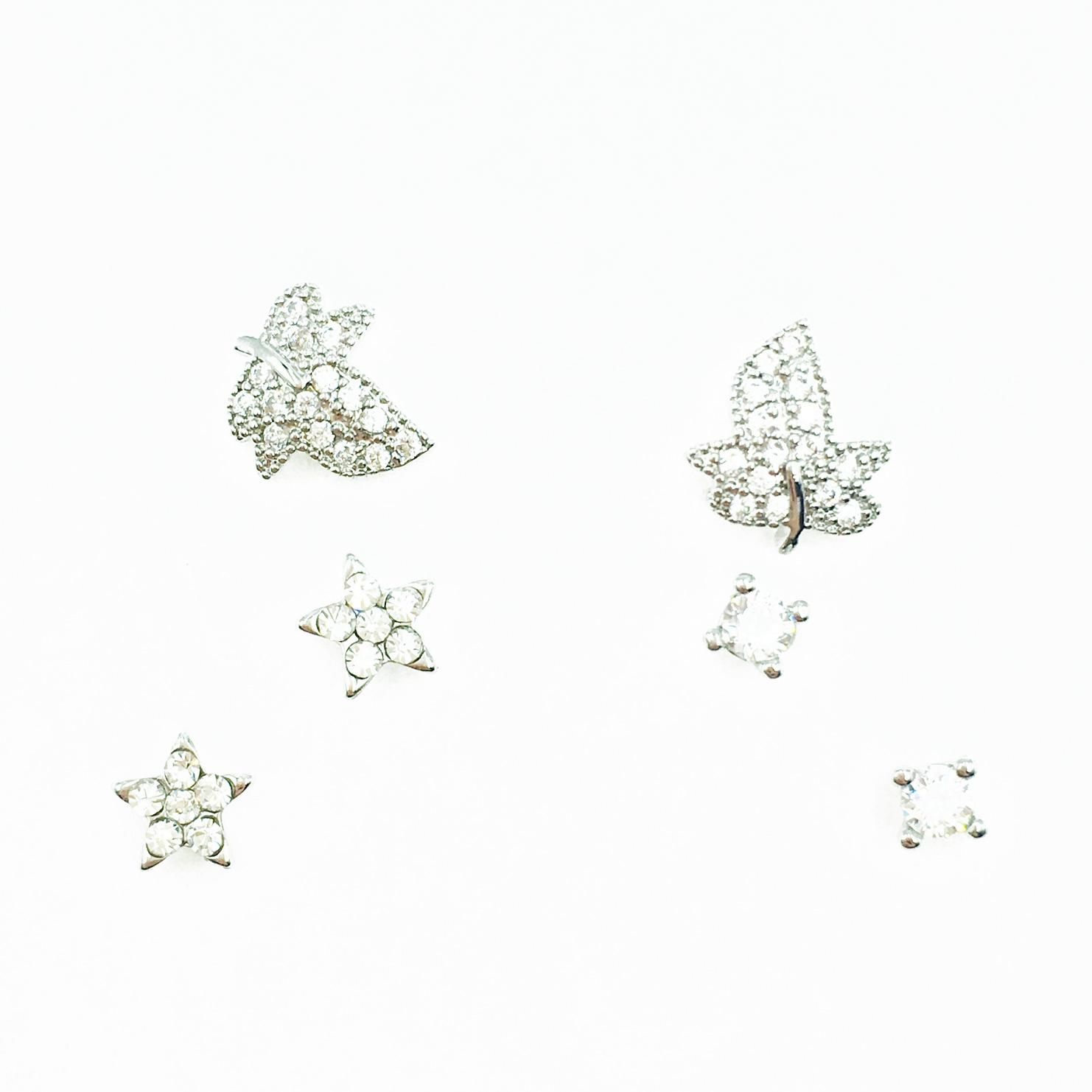 韓國 925純銀 葉子 星星 水鑽 單鑽 多入組 耳針式耳環