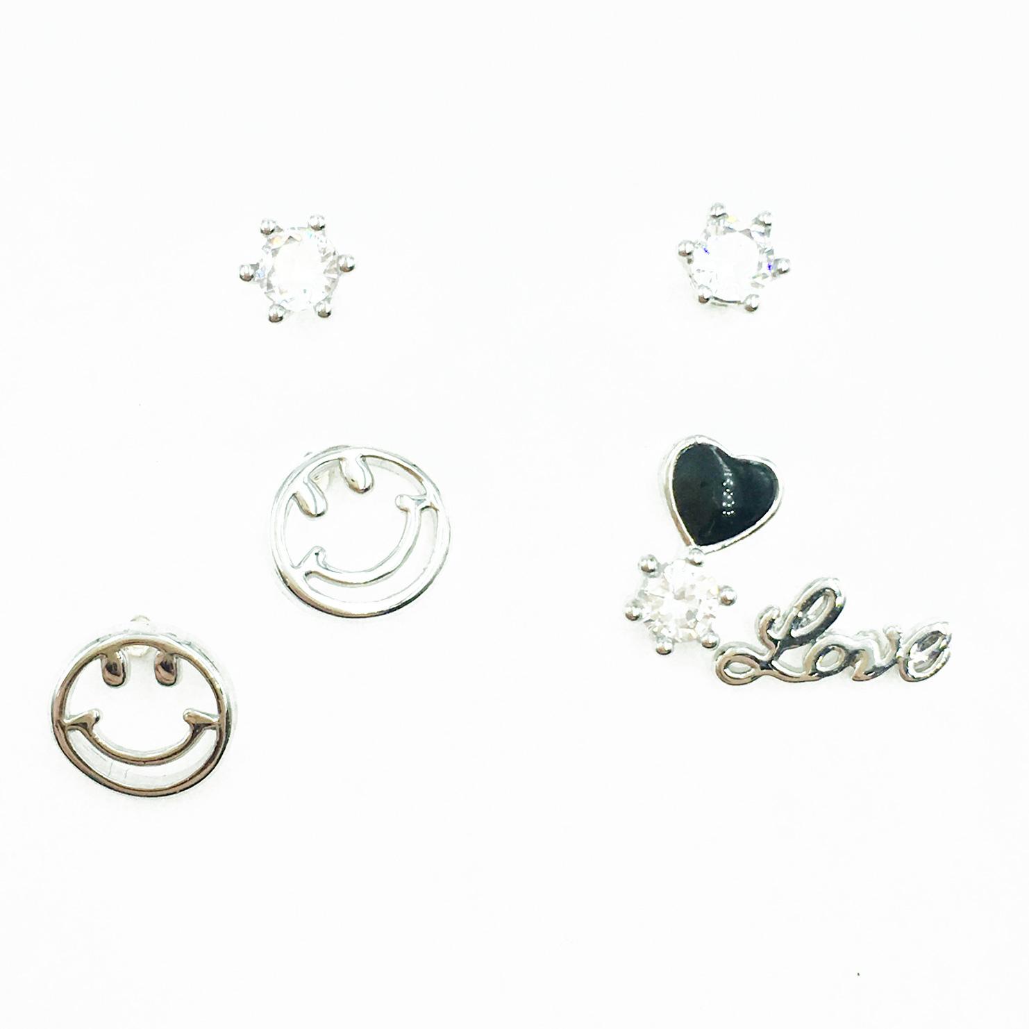 韓國 925純銀 單鑽 簍空笑臉 love 愛心 多入組 耳針式耳環