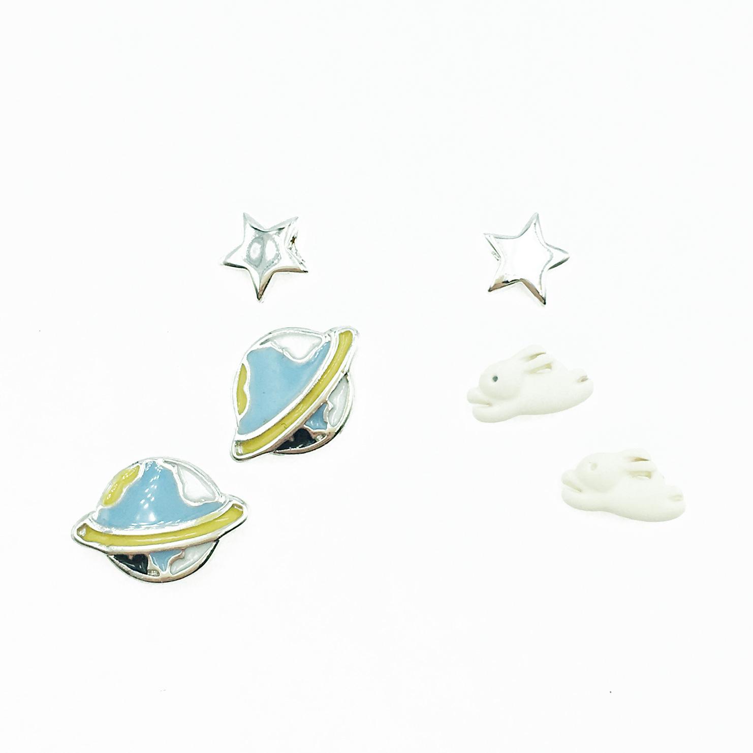 韓國 925純銀 星星 白兔 行星 多入組 耳針式耳環