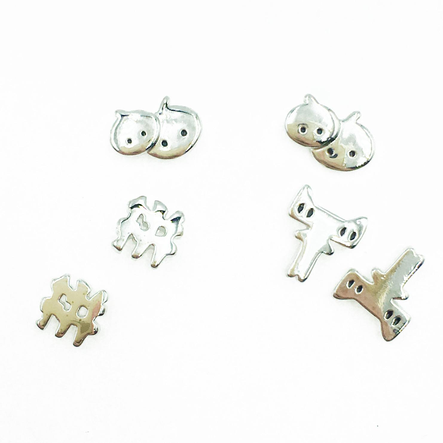 韓國 925純銀 歐美金屬風 趣味 多入組 耳針式耳環