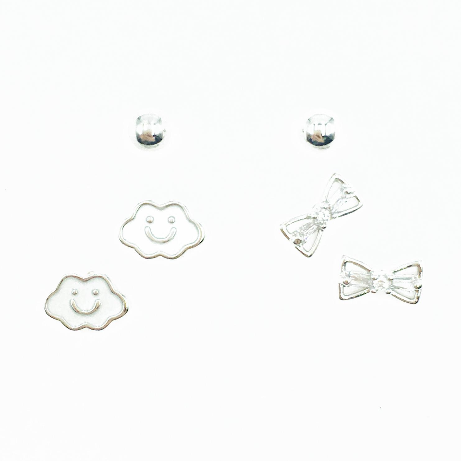 韓國 925純銀 蝴蝶結 可愛雲朵 多入組 耳針式耳環