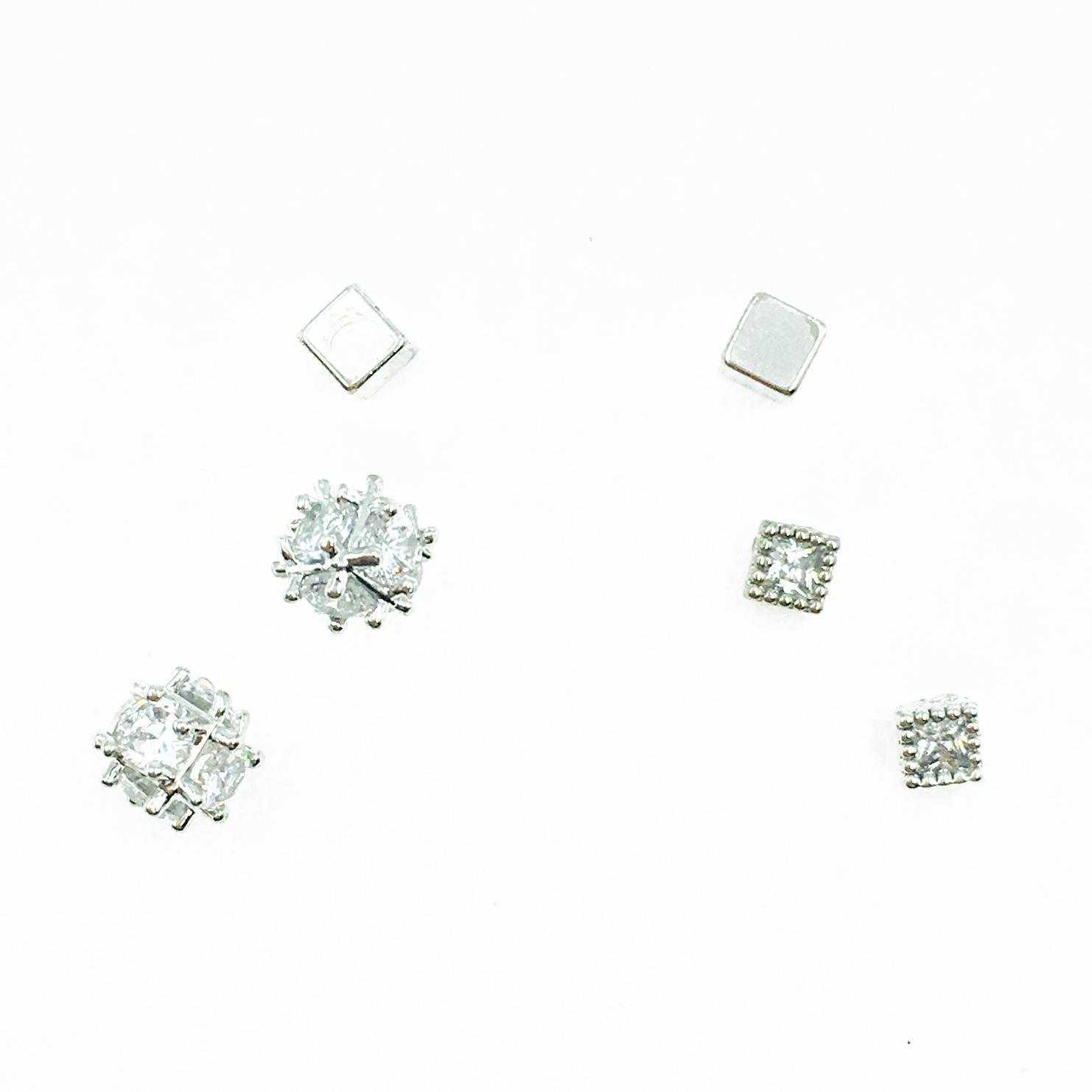 韓國 925純銀 金屬方塊 水鑽 單鑽 多入組 耳針式耳環