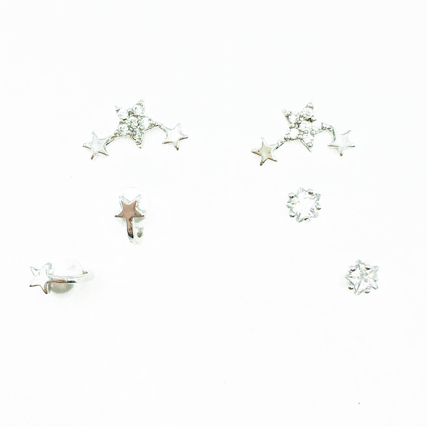 韓國 925純銀 星星水鑽 珍珠 多入組 耳針式耳環