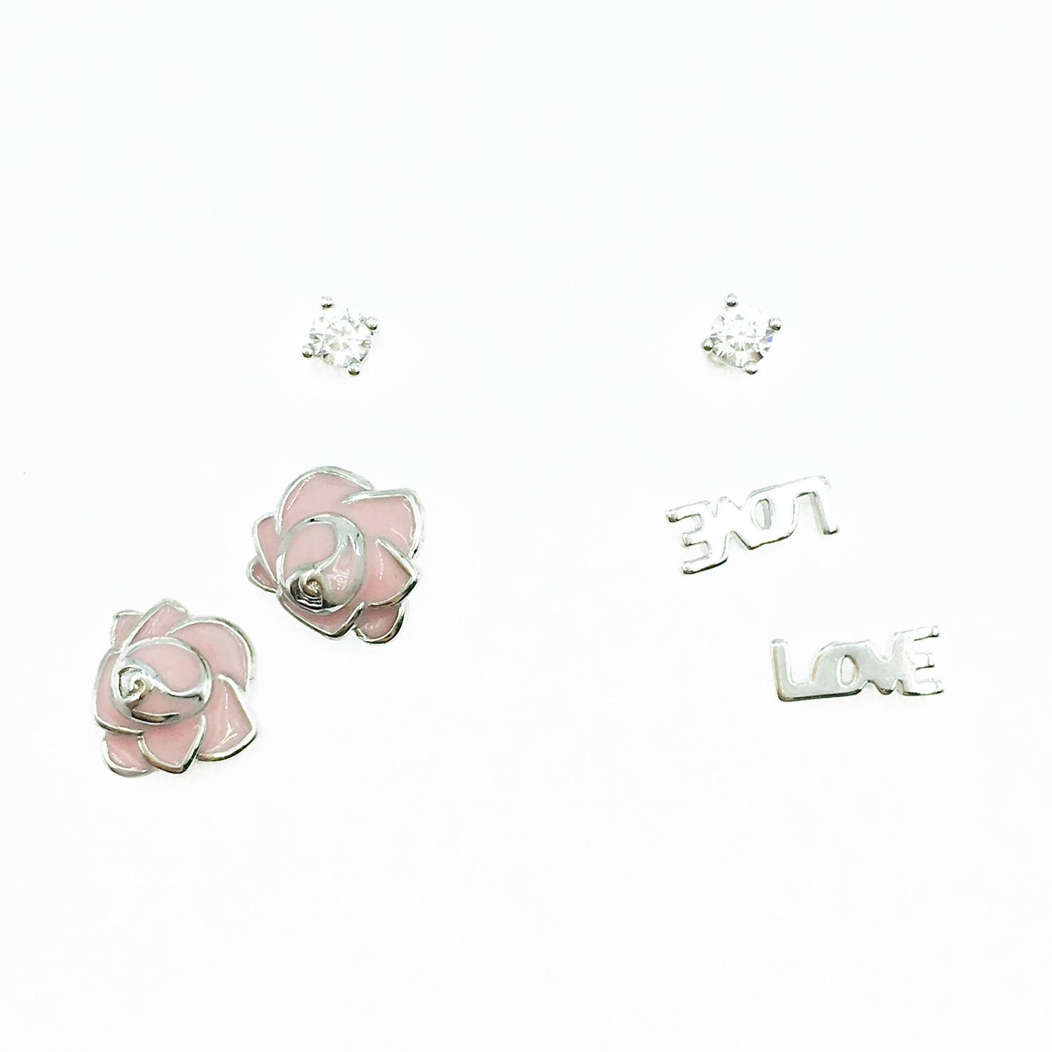 韓國 925純銀 單鑽 粉花 LOVE 多入組 耳針式耳環