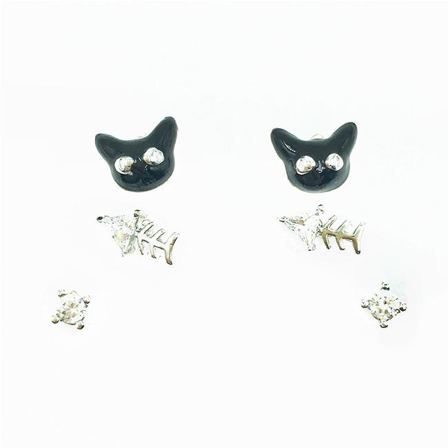 韓國 925純銀 魚骨 水鑽 黑貓 多入組 耳針式耳環