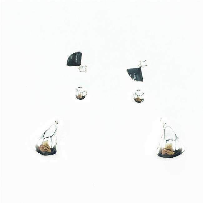 韓國 925純銀 簡約金屬 歐美 多入組 耳針式耳環