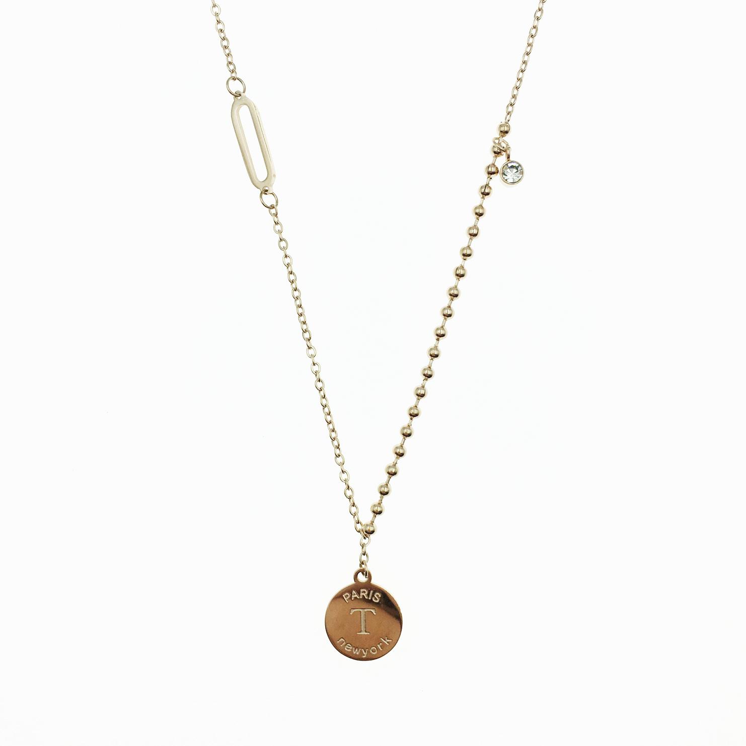 韓國 不鏽鋼 英文字母吊牌 珠鍊 水鑽 玫瑰金 項鍊