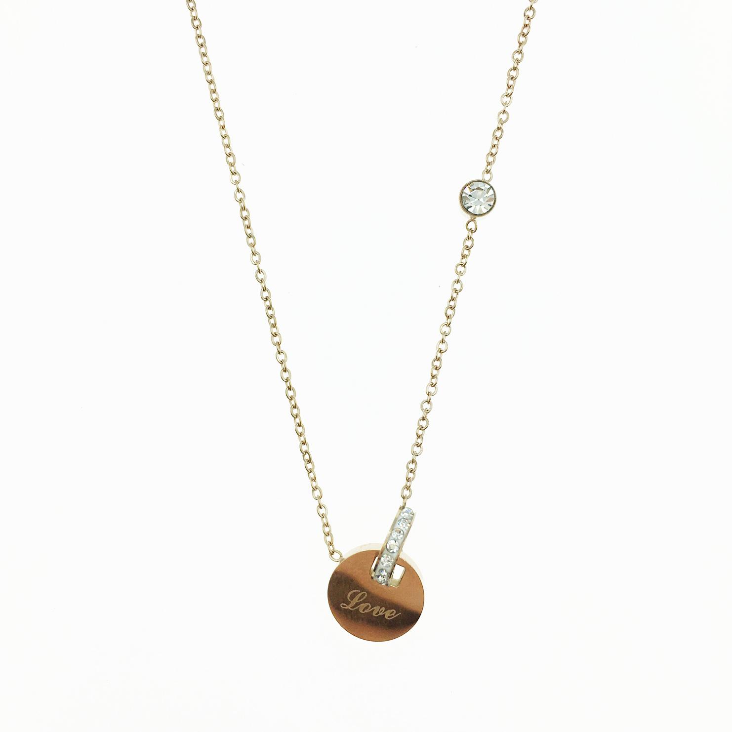 韓國 不鏽鋼 Love吊牌 水鑽 玫瑰金 項鍊