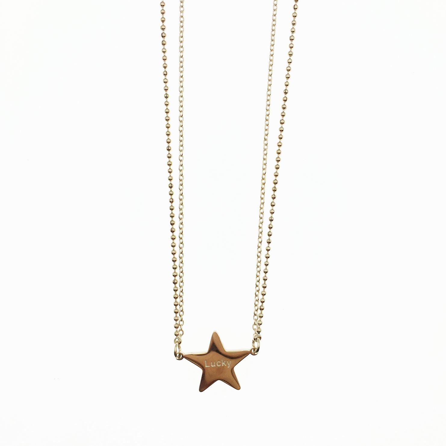 韓國 不鏽鋼 星星 Lucky 玫瑰金 項鍊