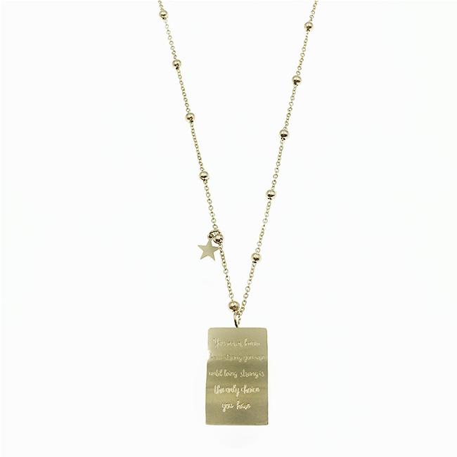 韓國 不鏽鋼 英文刻字吊牌 珠鍊 玫瑰金 項鍊