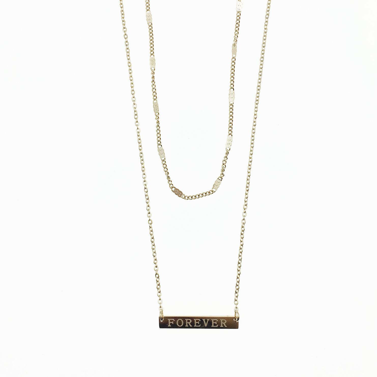 韓國 不鏽鋼 雙鍊 FOREVER吊牌 玫瑰金 項鍊