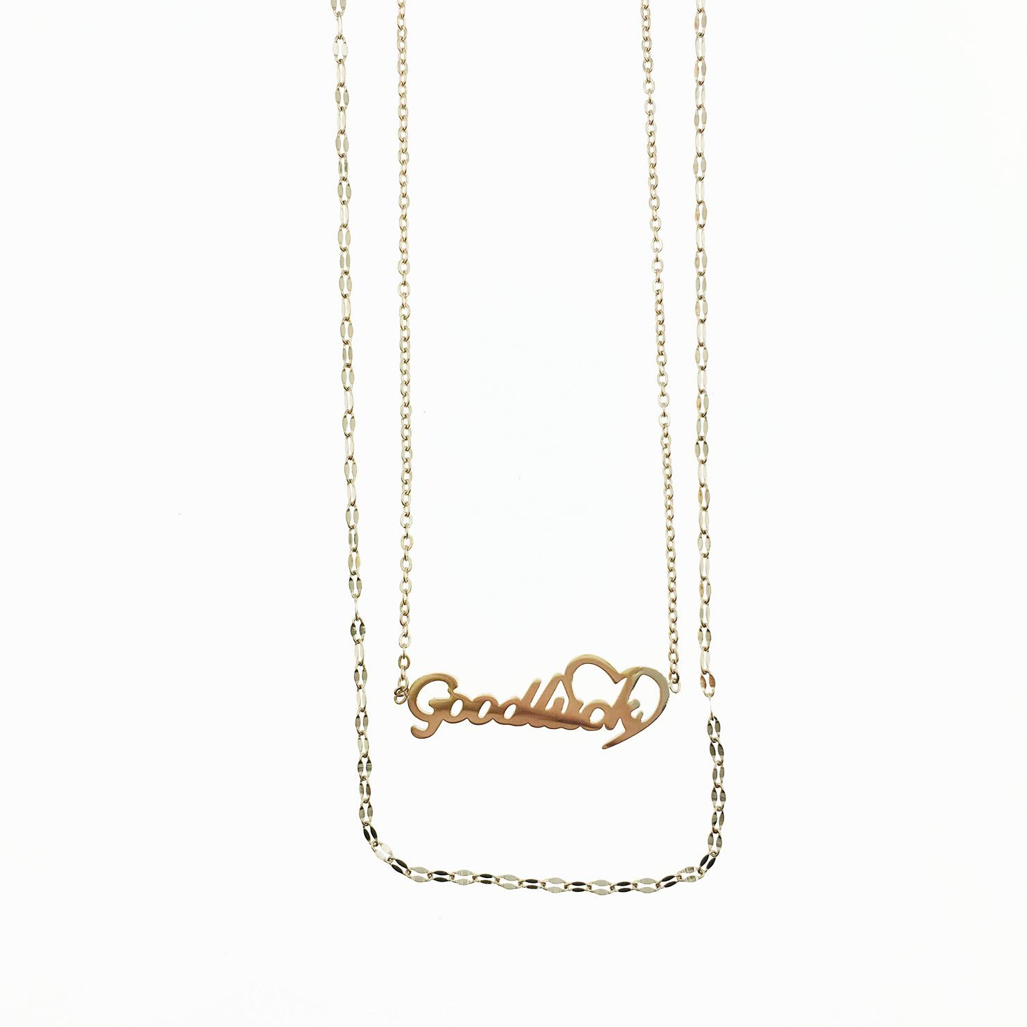 韓國 不鏽鋼 英文字 雙鍊 玫瑰金 項鍊
