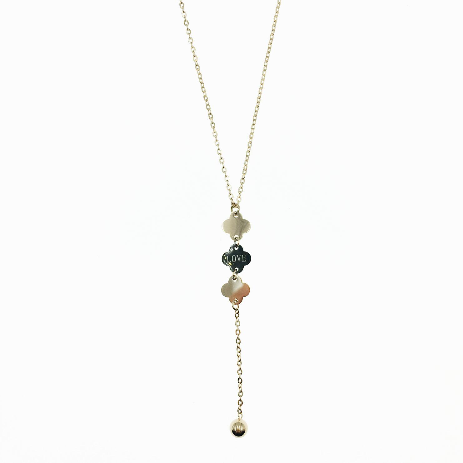 韓國 不鏽鋼 英文字吊牌 玫瑰金 垂墜感 項鍊