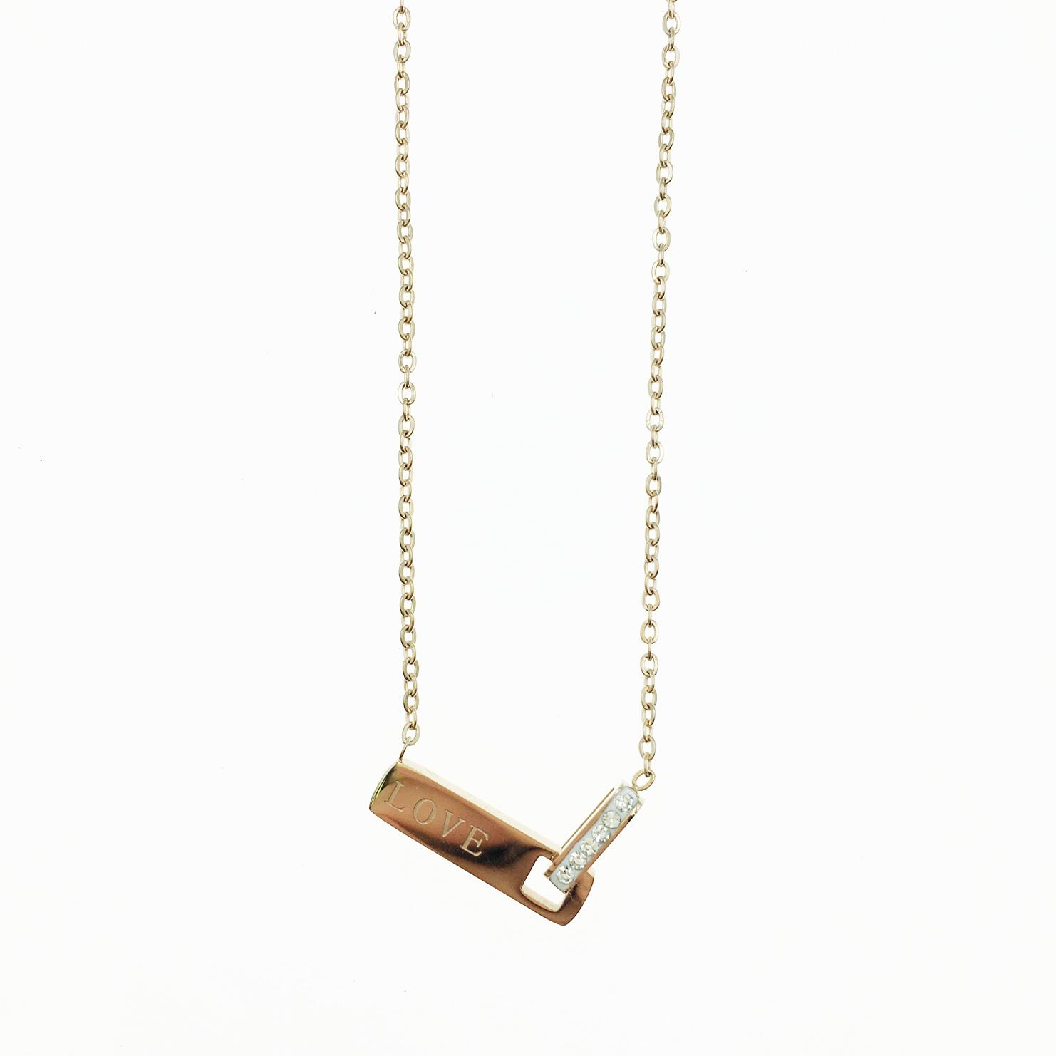 韓國 不鏽鋼 水鑽 LOVE英文字吊牌 玫瑰金 項鍊
