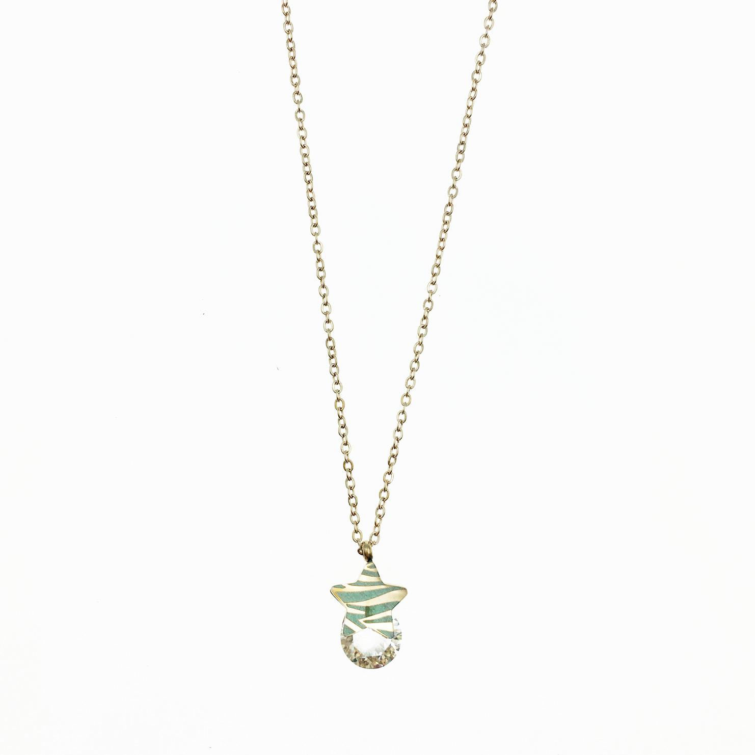 韓國 不鏽鋼 星星 夾心水鑽 玫瑰金 項鍊