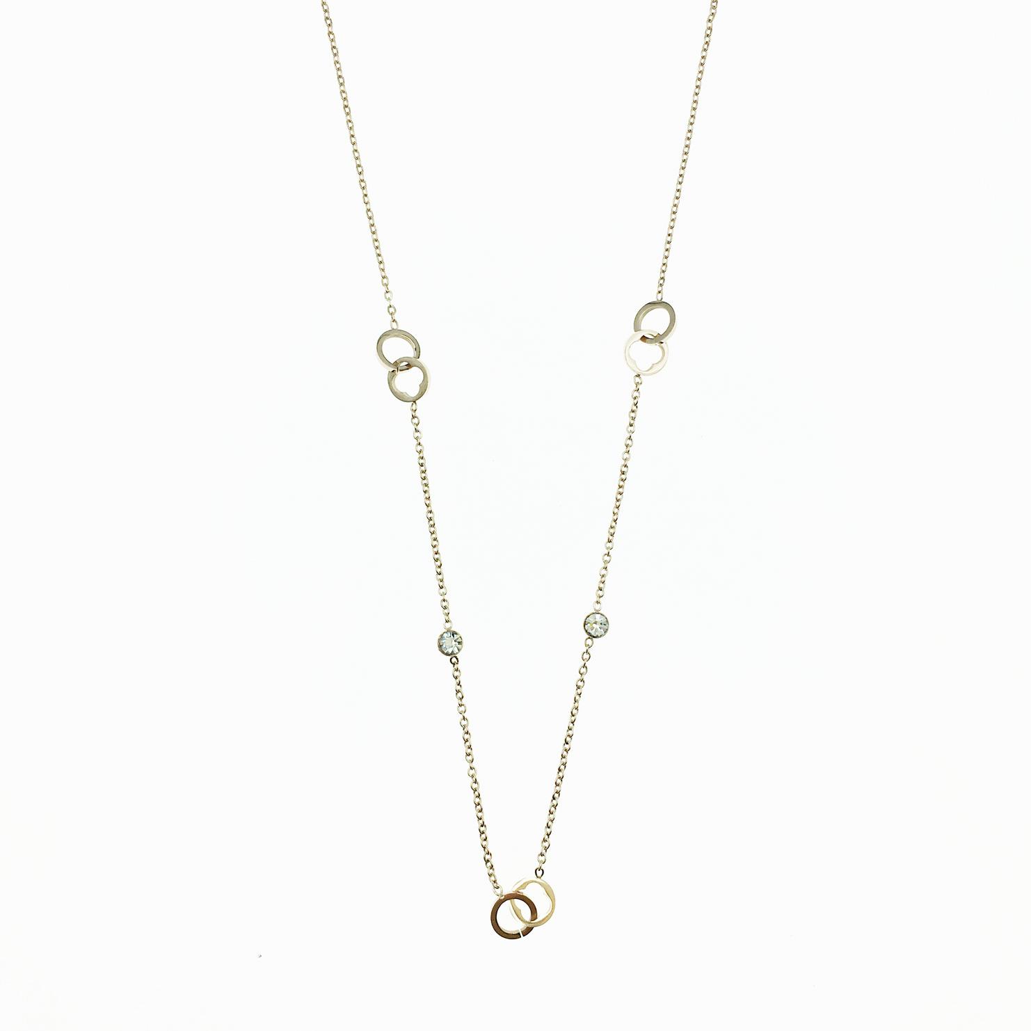 韓國 不鏽鋼 簍空圓圈 水鑽 玫瑰金 項鍊