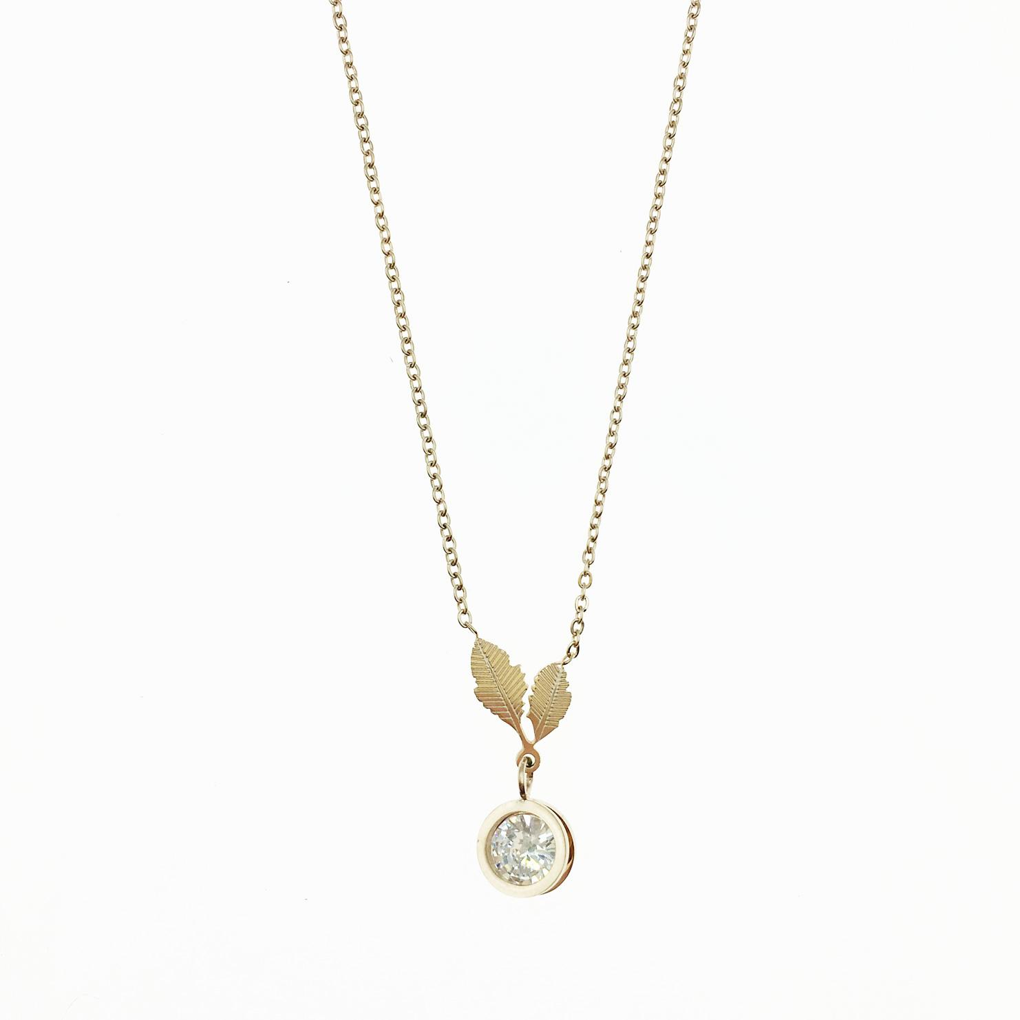 韓國 不鏽鋼 葉子 圓鑽 夾心水鑽 玫瑰金 項鍊