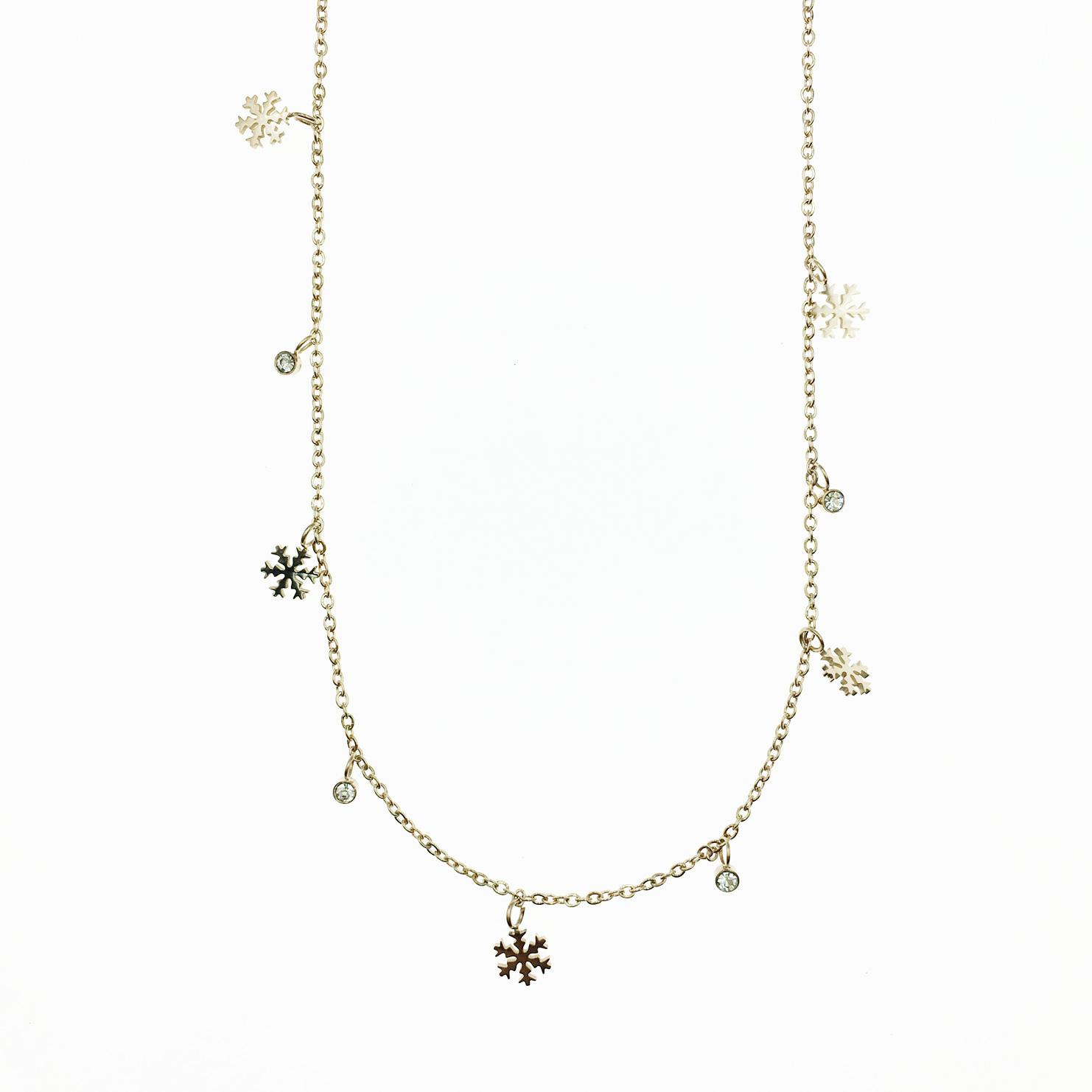 韓國 不鏽鋼 雪花 水鑽 墜飾 玫瑰金 項鍊