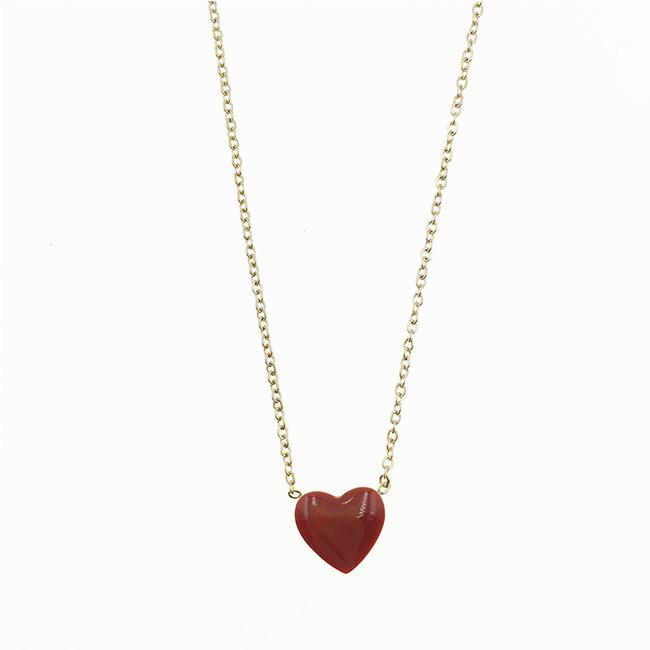韓國 不鏽鋼 紅愛心 玫瑰金 項鍊