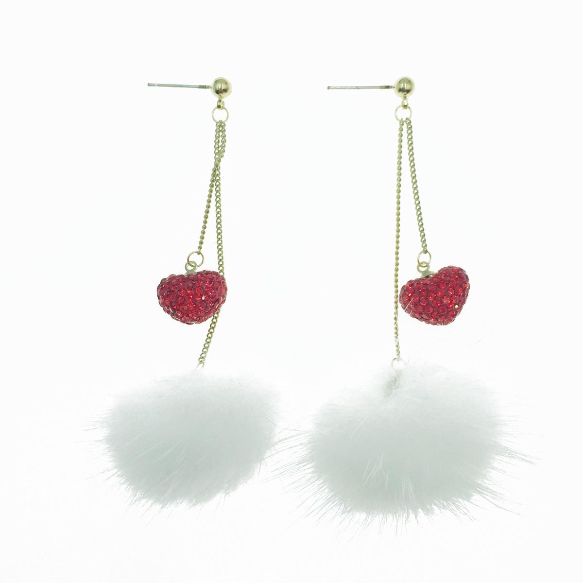 韓國 925純銀 愛心紅水鑽 白毛球 垂墜感 耳針式耳環