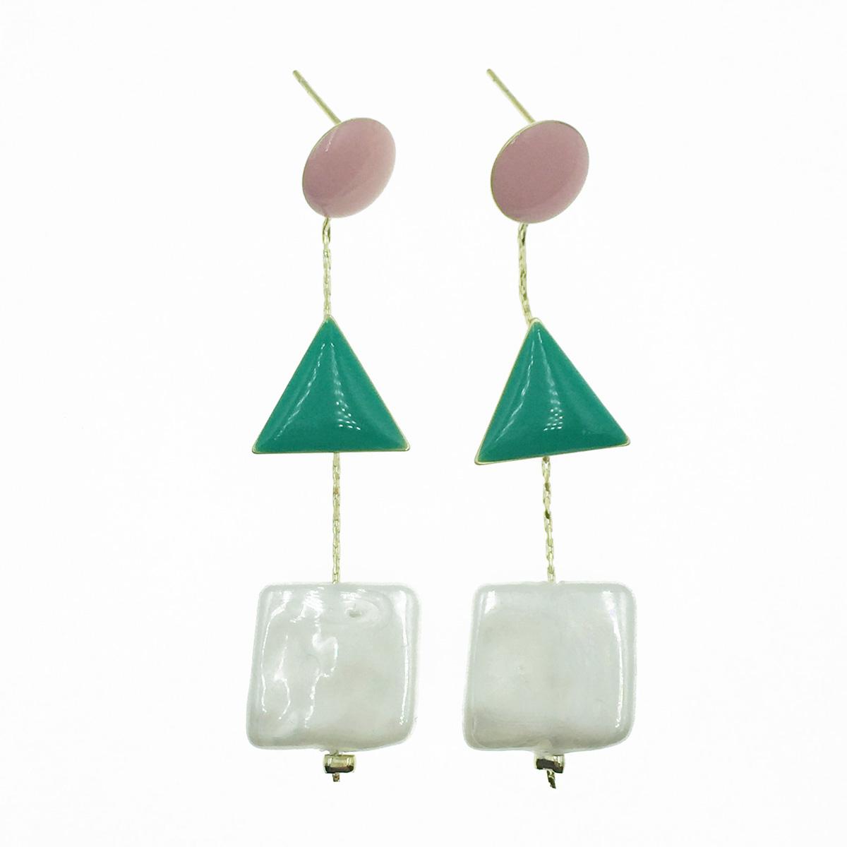 韓國 925純銀 圓 三角 正方 垂墜感 耳針式耳環