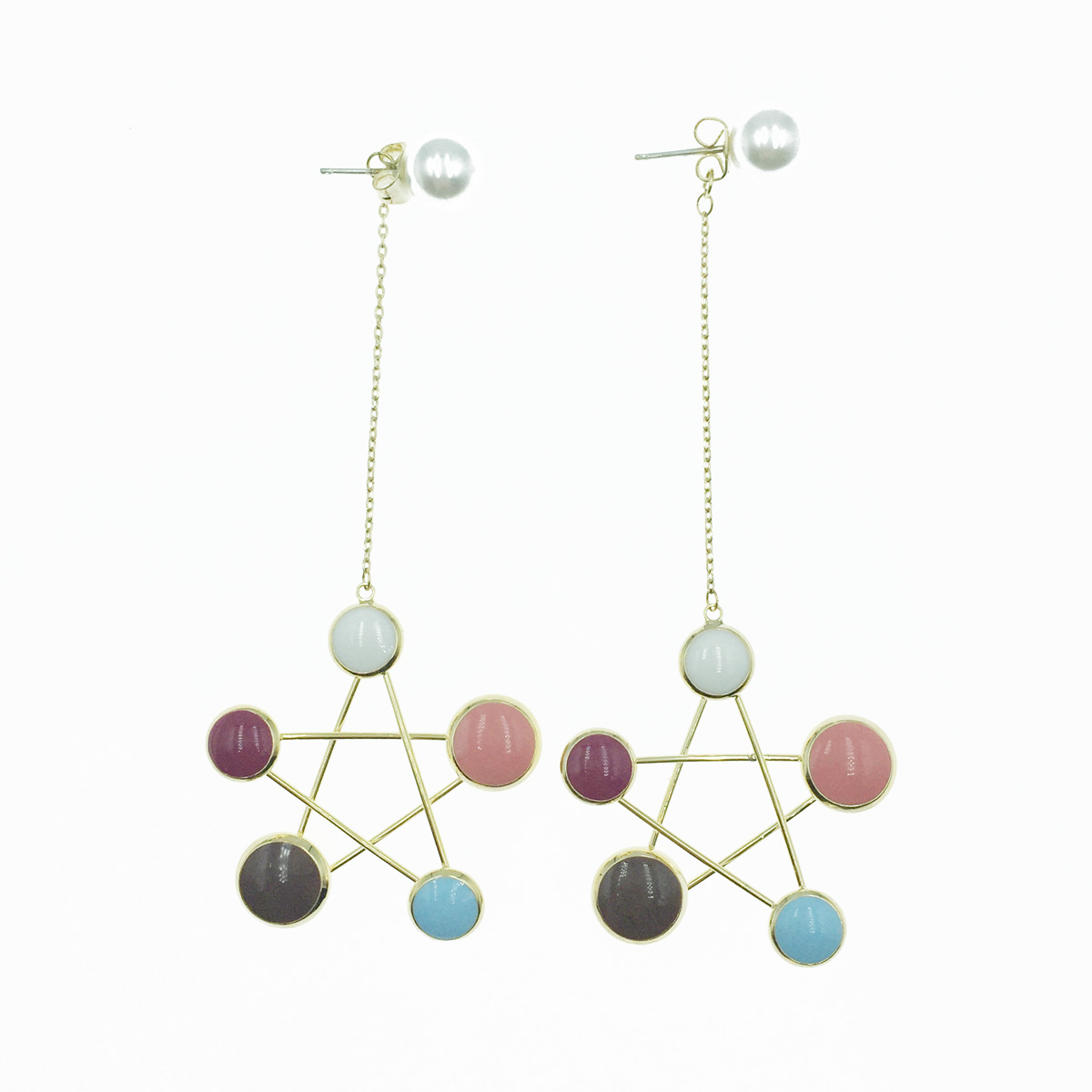 韓國 925純銀 星星 金簍空 珍珠 垂墜感 耳針式耳環