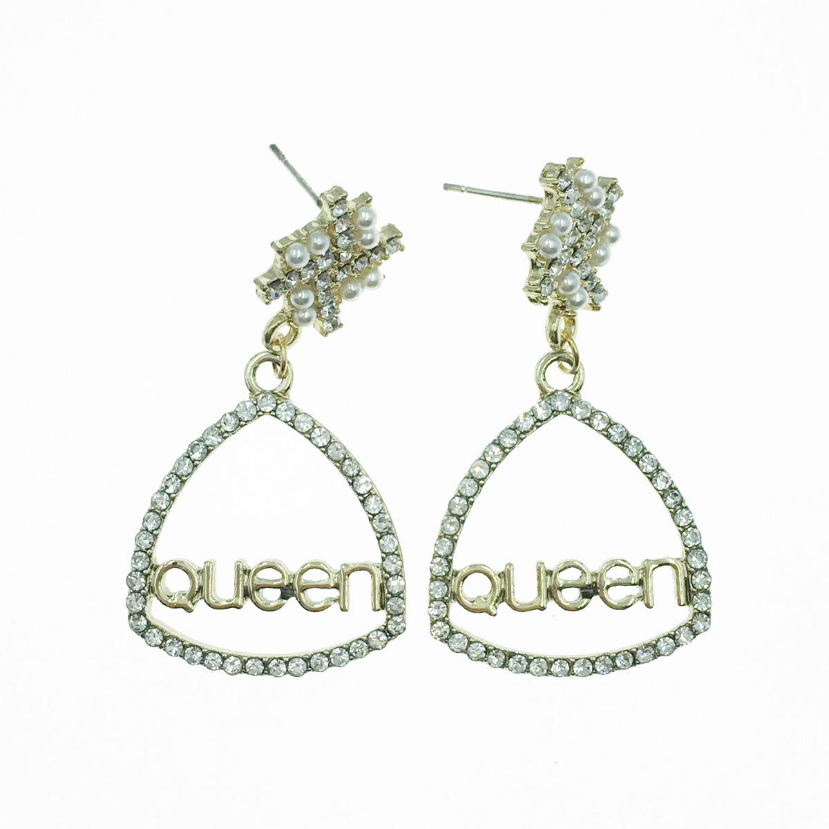 韓國 925純銀 Queen 簍空水鑽 珍珠 垂墜感 耳針式耳環
