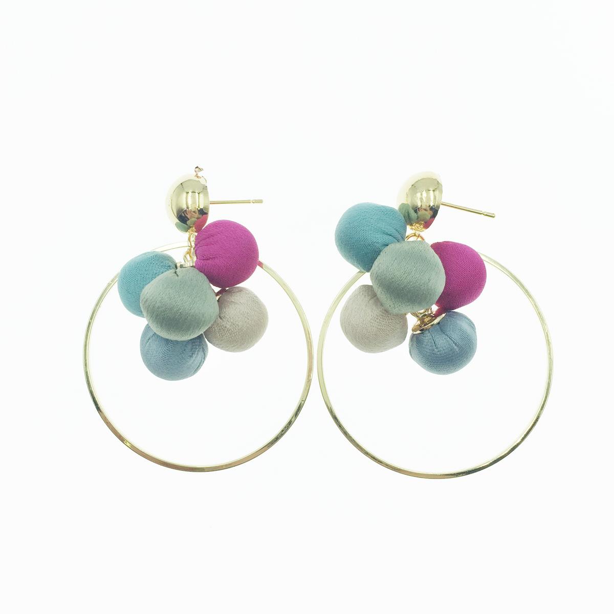 韓國 925純銀 簍空金圓圈 布面珠球 垂墜感 耳針式耳環