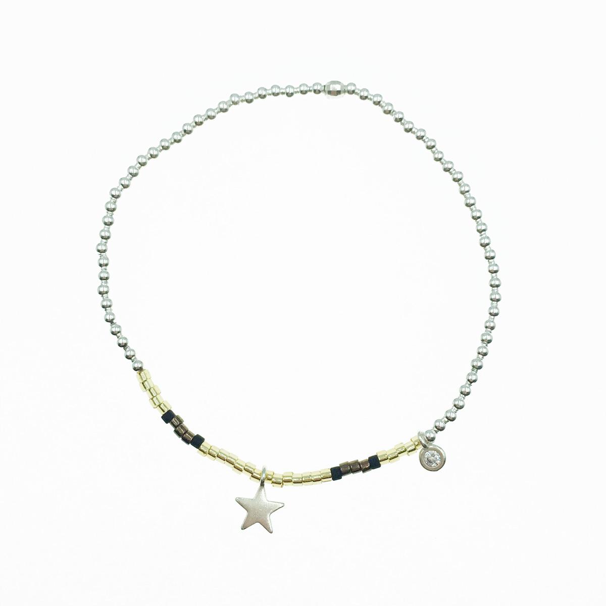 韓國 925純銀 星星 水鑽 墜飾 串珠 彈力手環