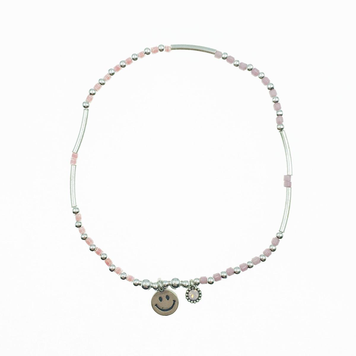 韓國 925純銀 小銀珠 串珠 笑臉墜飾 彈力手環