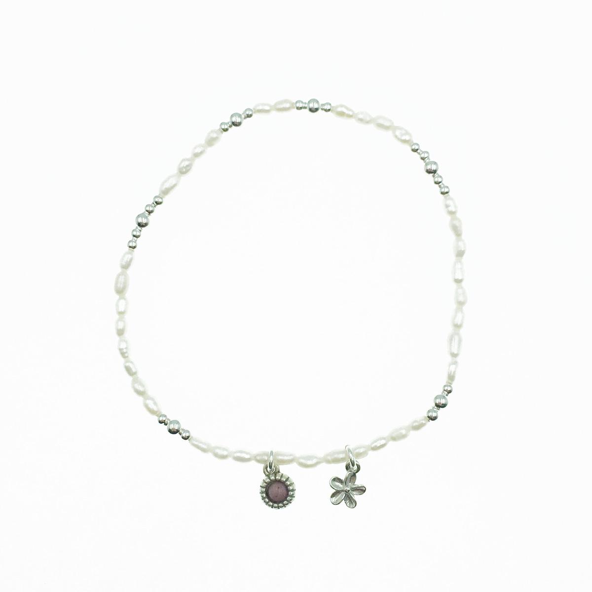 韓國 925純銀 串珠 小花墜飾 彈力手環
