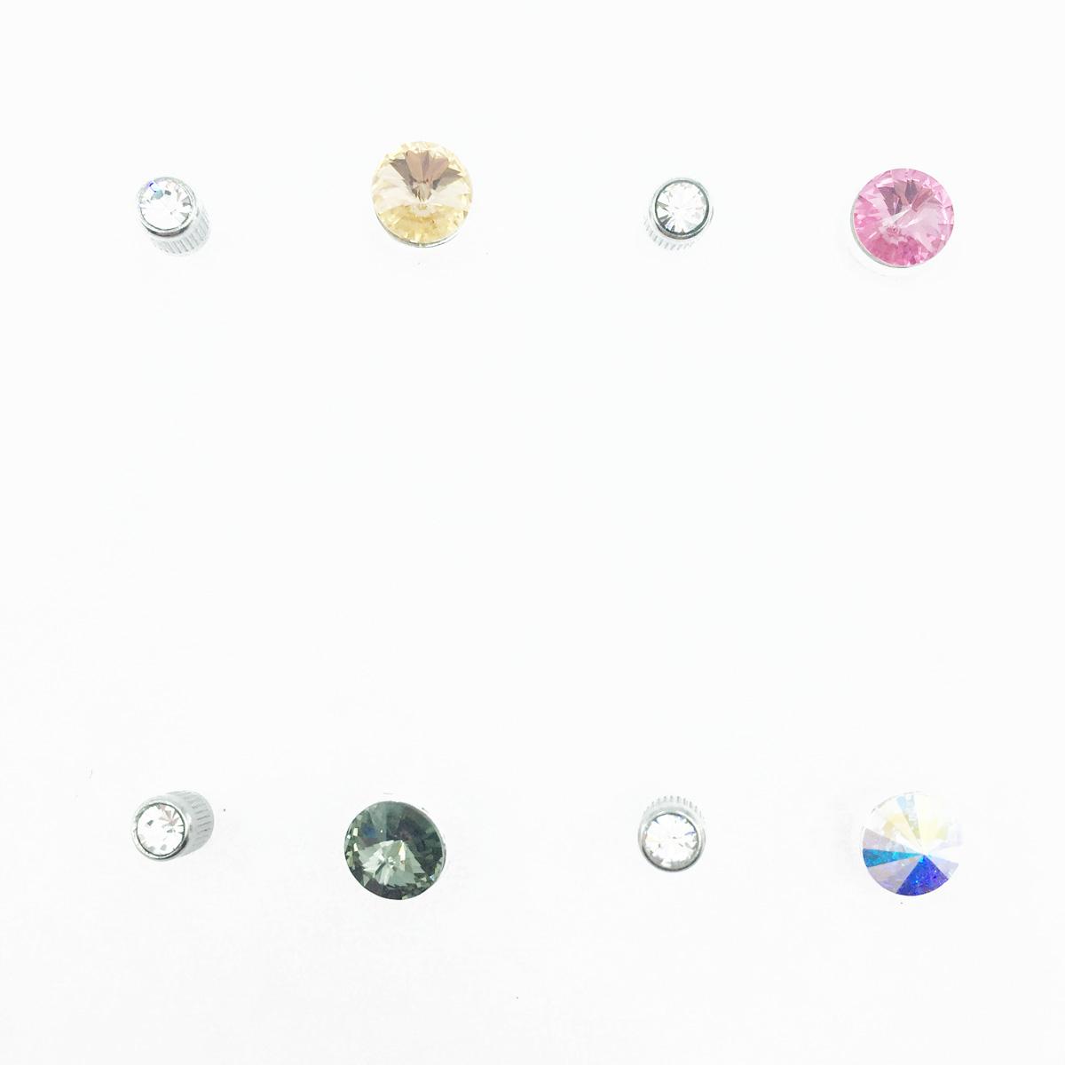 不鏽鋼 單鑽 閃耀水鑽 圓鑽 4色 後轉式針式耳環
