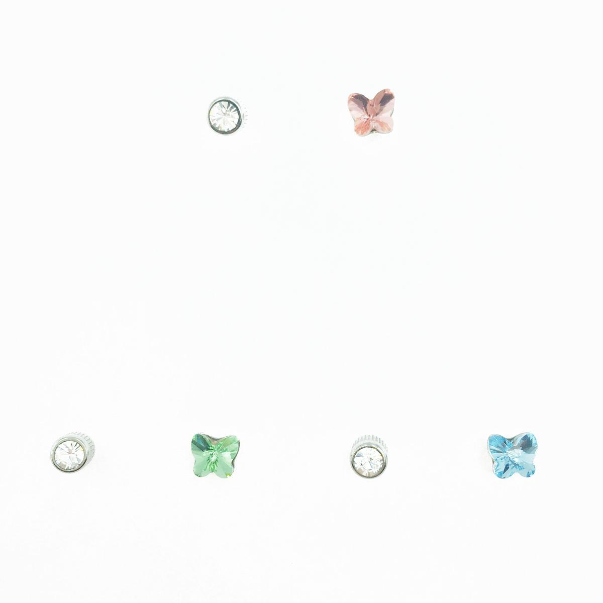 不鏽鋼 蝴蝶造型 水鑽 單鑽 3色 後轉式針式耳環