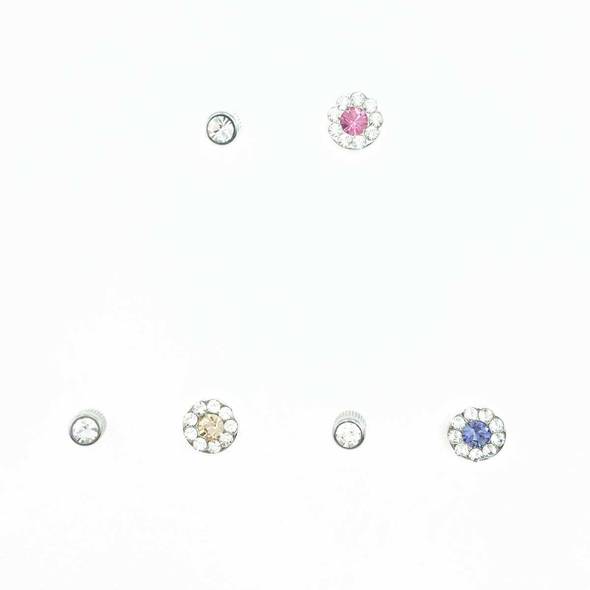不鏽鋼 水鑽 圓鑽 單鑽 3色 後轉式針式耳環