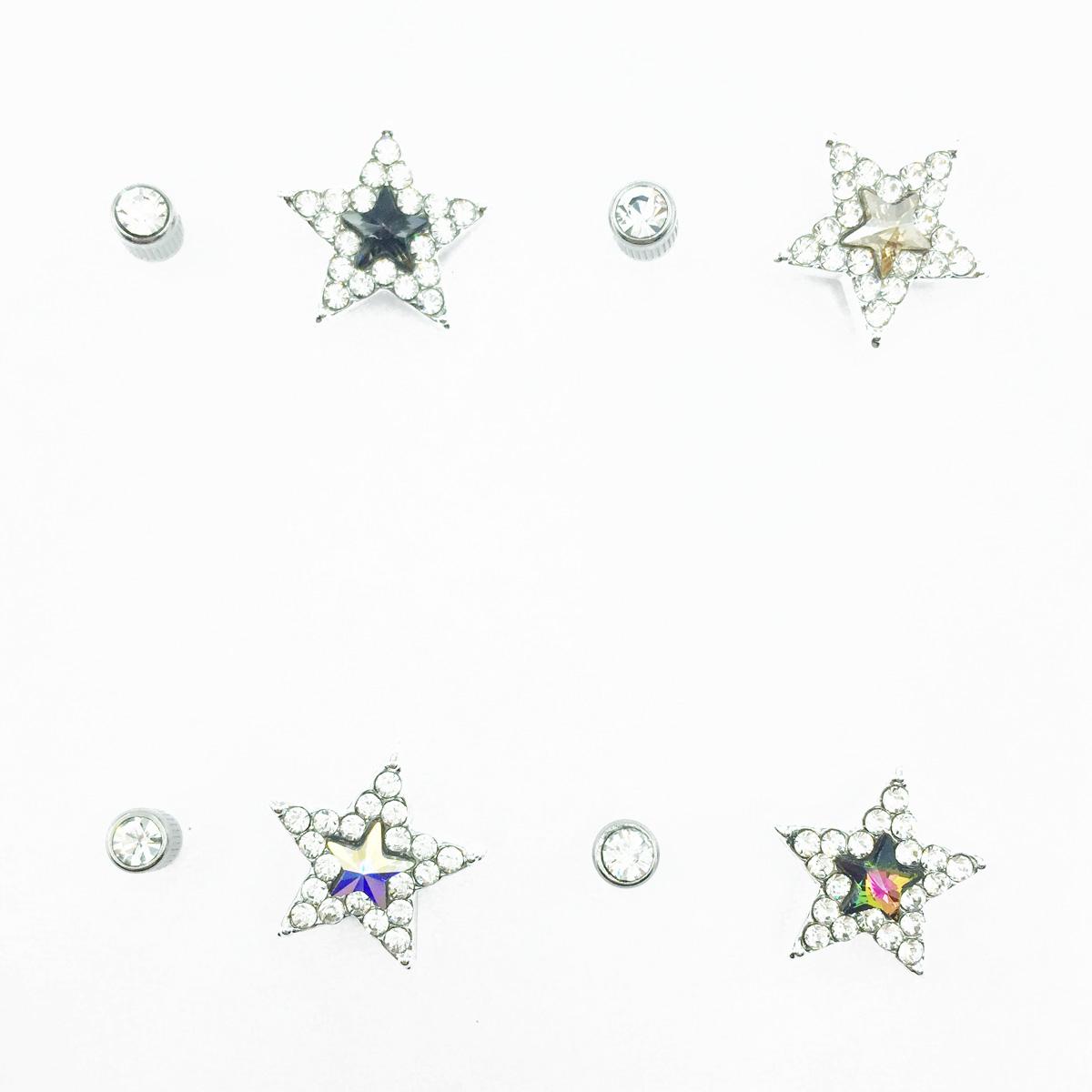 不鏽鋼 星星造型 水鑽 4色 後轉式針式耳環
