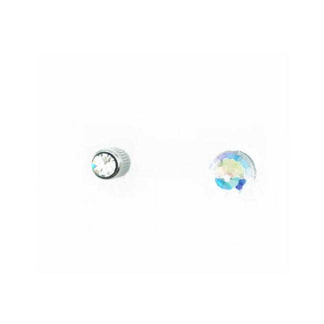 不鏽鋼 水晶 立體 球體 水鑽 後轉式針式耳環