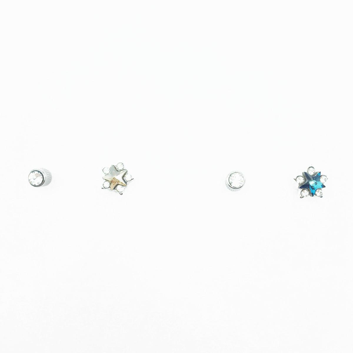 不鏽鋼 星星造型 水鑽 2色 後轉式針式耳環