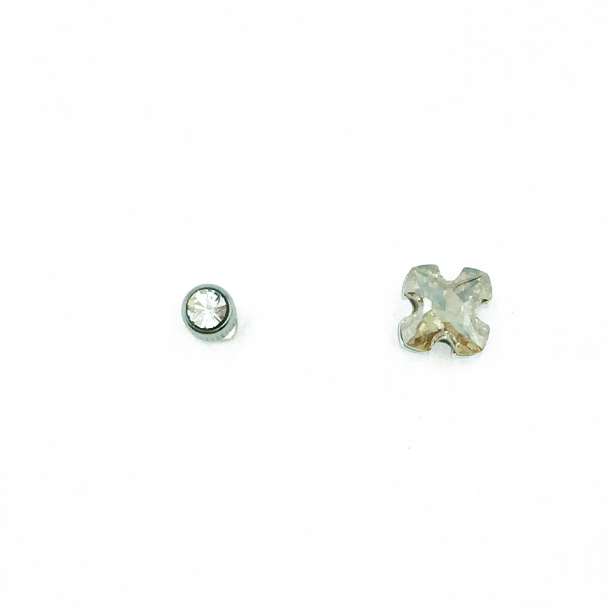 不鏽鋼 水鑽 單鑽 後轉式針式耳環