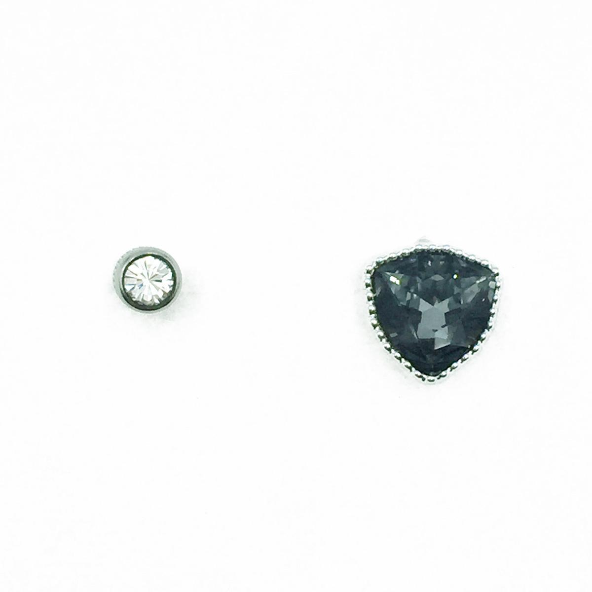 不鏽鋼 切割面 水鑽 後轉式針式耳環