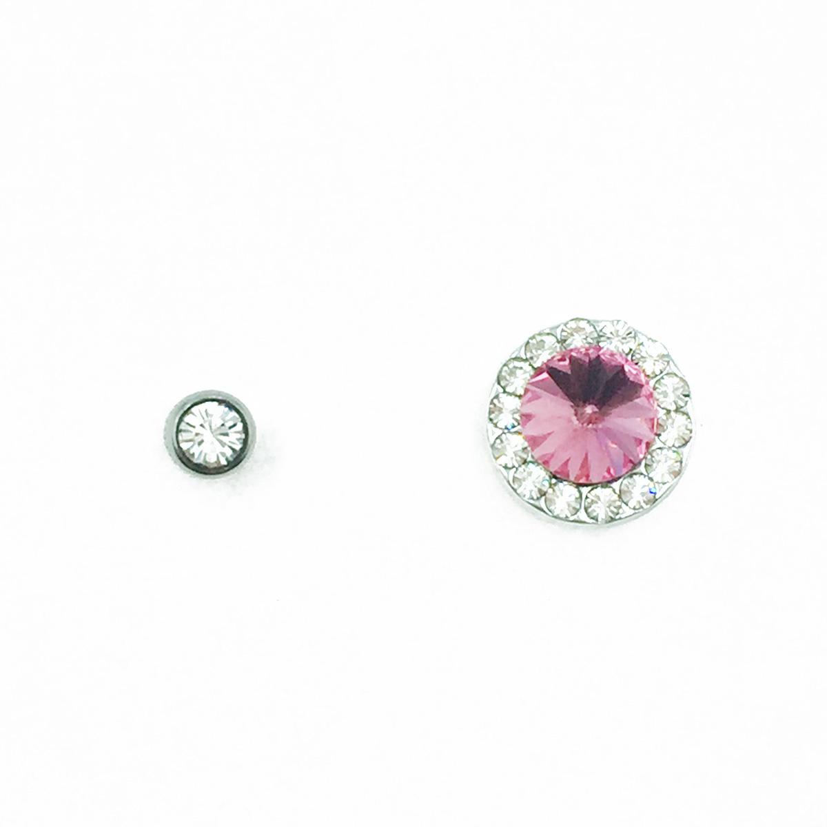 不鏽鋼 水鑽 單鑽 圓鑽 粉鑽 後轉式針式耳環