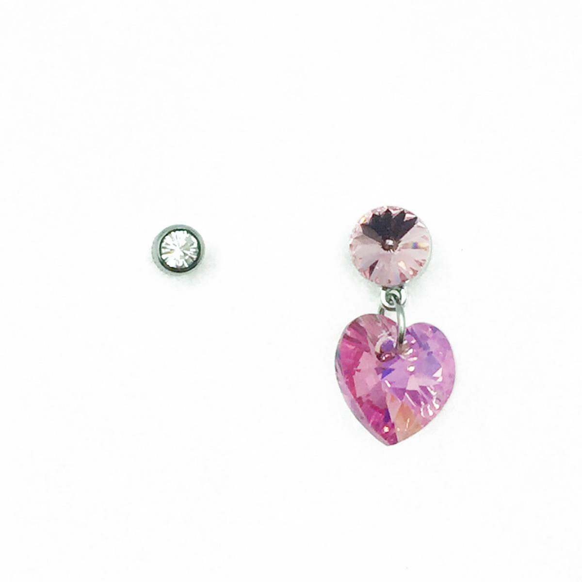 不鏽鋼 愛心粉鑽 水鑽 垂墜感 後轉式針式耳環