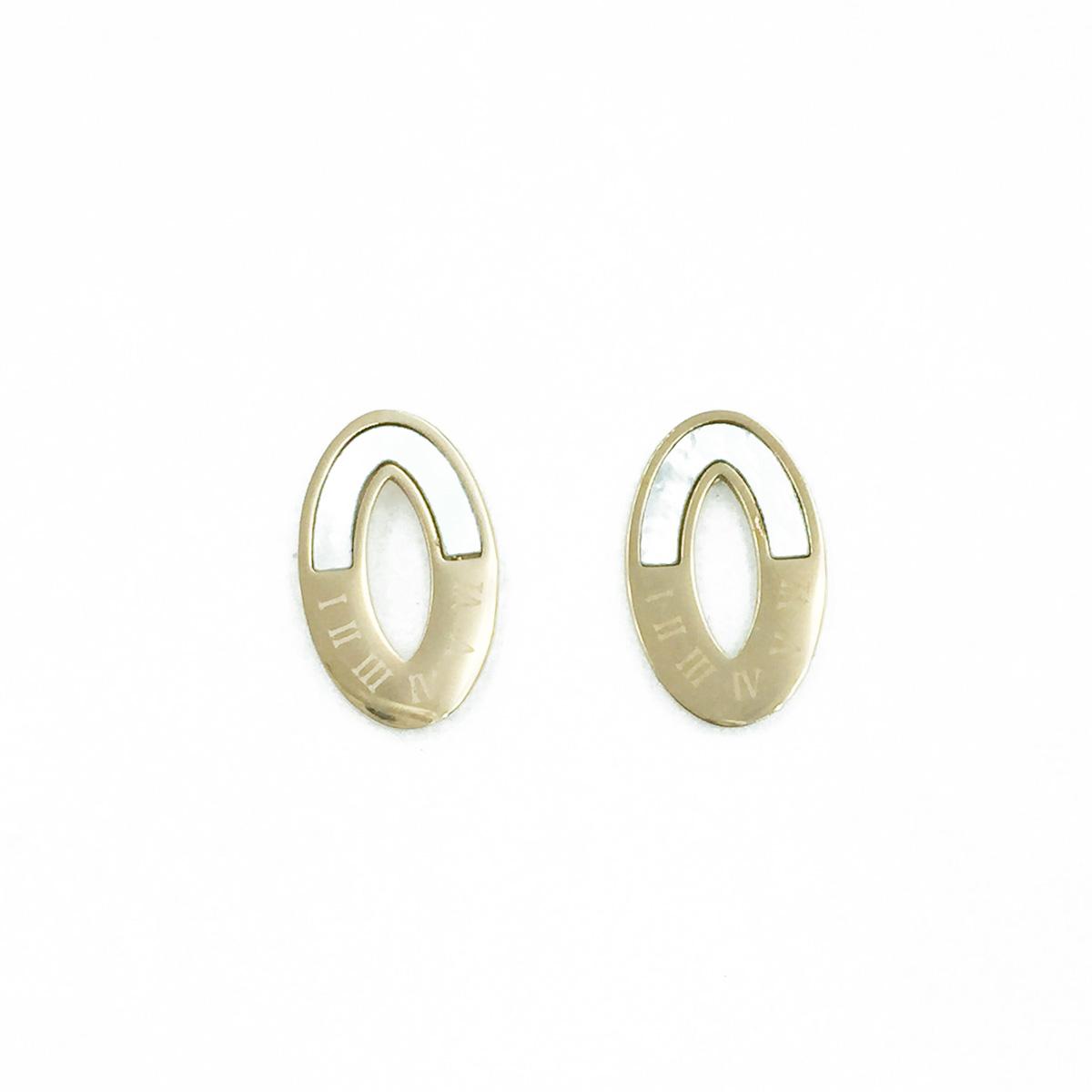 韓國 不鏽鋼 簍空橢圓設計 羅馬數字 玫瑰金 耳針式耳環