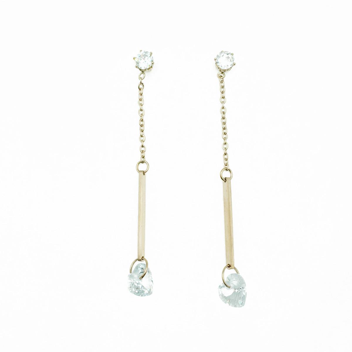韓國 不鏽鋼 水鑽 愛心 玫瑰金 垂墜感 耳針式耳環